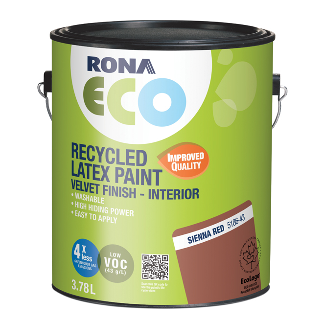 RONA ECO Recycled Interior Paint - Latex - 3.78 L - Velvet Finish - Sienna Red