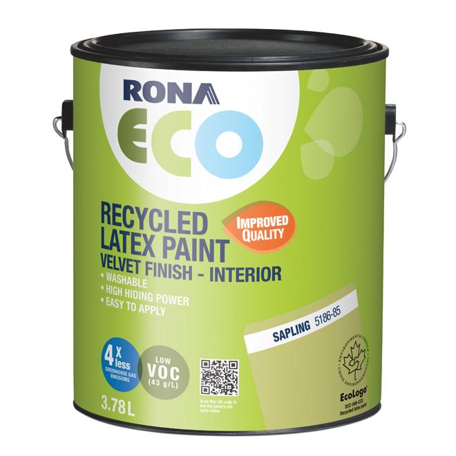 RONA ECO Recycled Interior Paint - Latex - 3.78 L - Velvet Finish - Sapling