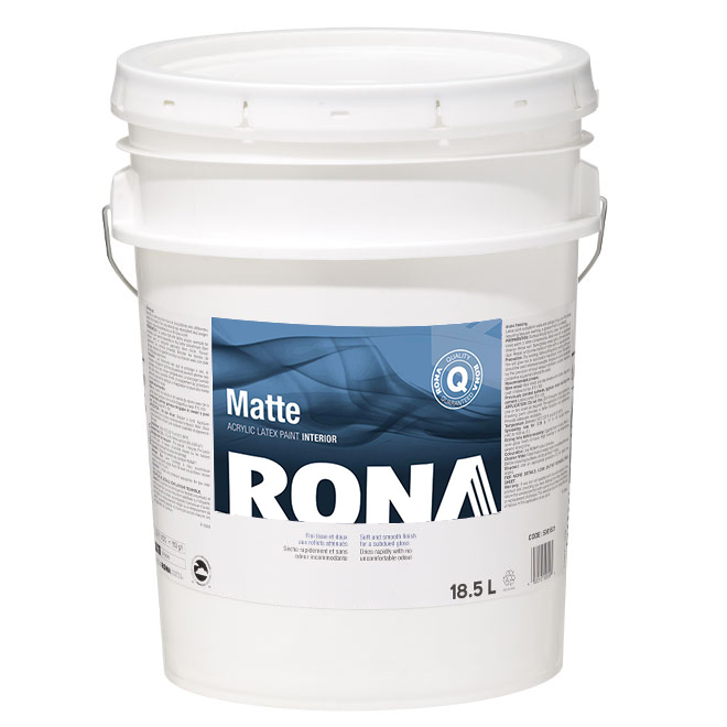 RONA Interior Paint - Latex - 18.5 L - Matte Finish - Natural White