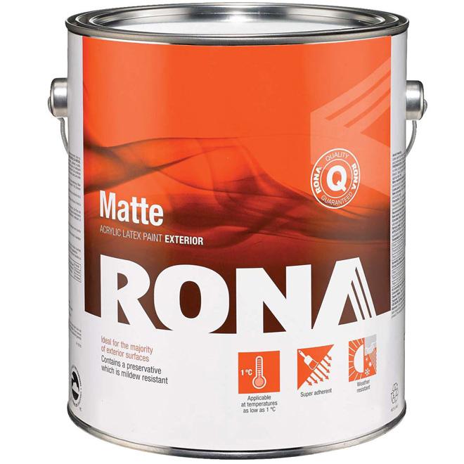 Exterior Acrylic Latex Paint - 3.7 L - White - Matte
