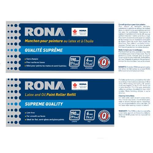 Rona Roller Refill - Lint Free - 190 mm x 6 mm