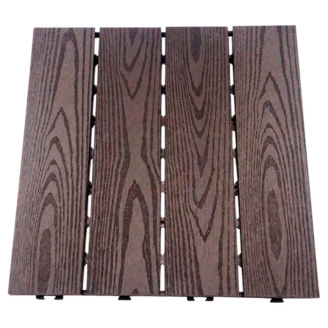 Composite Patio Tile X Box Of Dark Coffee RONA - Teak patio flooring 12x12
