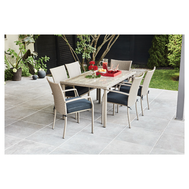 Hampton Patio Dining Set - Grey - 6 Places