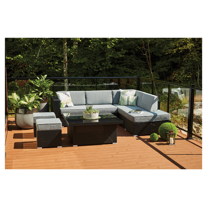 Soho 6-Seat Patio Sectional Seating Set - Grey/Black
