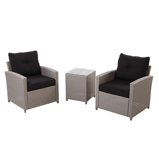 Resine Wicker Bistro Set - Black/Grey - 2 Places