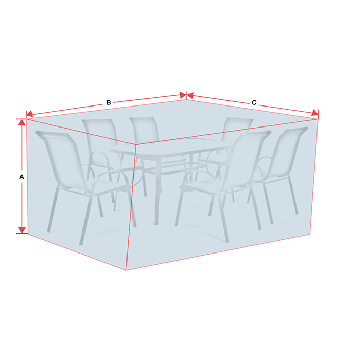 Patio Dining Set Cover - Polyester - Grey