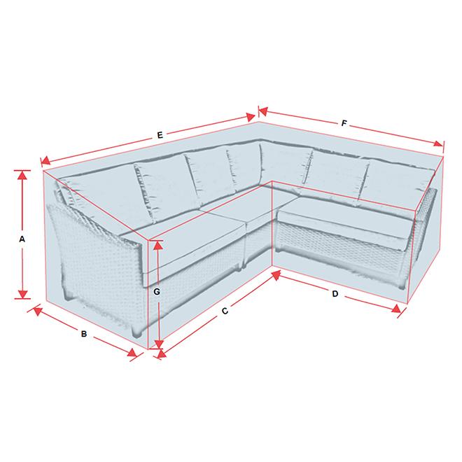 Housse pour canapé d'angle de patio, polyester, gris