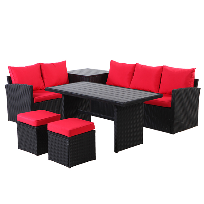 Uberhaus 7-Seat Patio Conversation Set - Red and Black