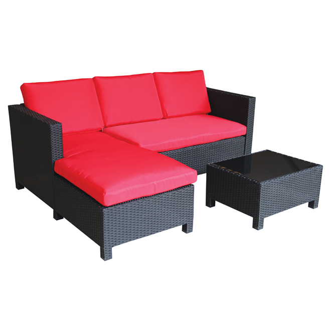 Sectional Seating Set - Shanghai - Black/Red - 3 Places