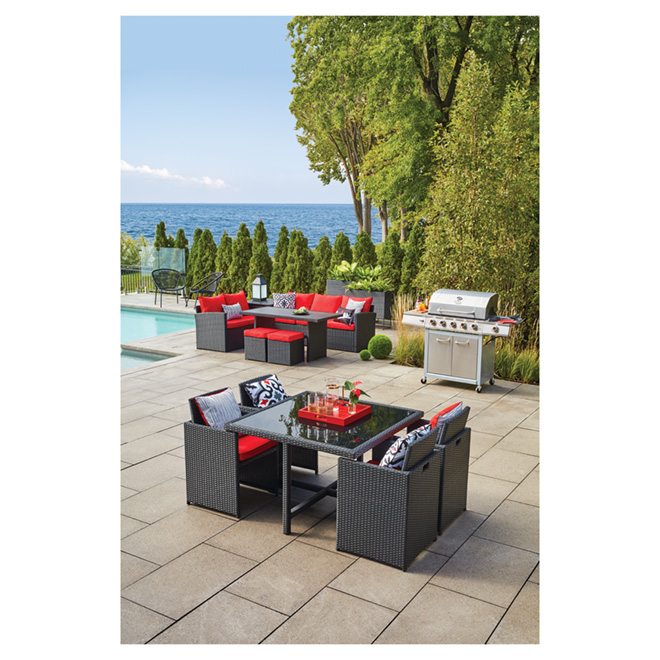 Uberhaus Shanghai 5-Piece Patio Dining Set - Black and Red