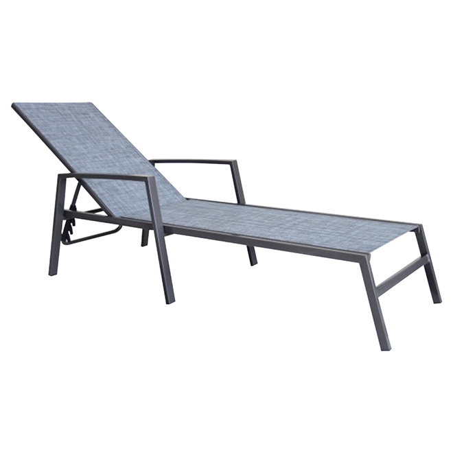 Chaise Longue De Patio Reglable Manhattan Empilable Gris Rona