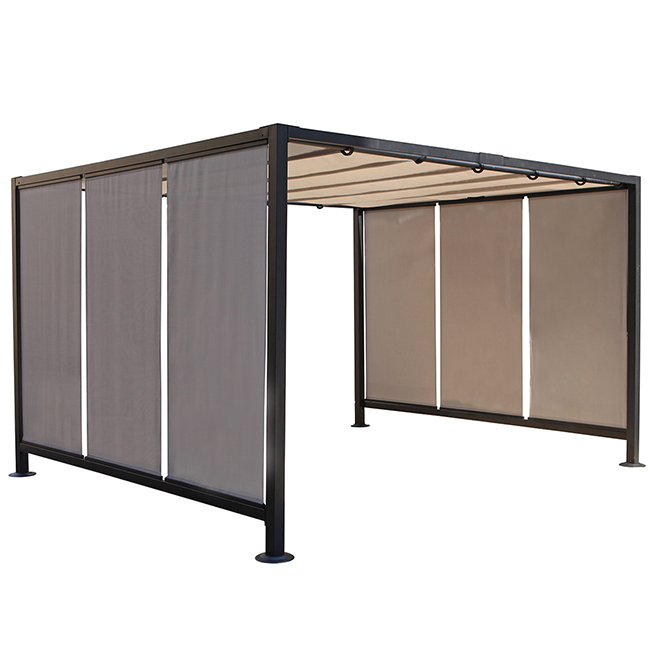 Steel Pergola with Canvas - 10' x 12' x 7' - Grey and Black