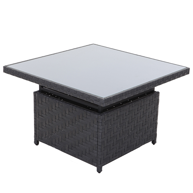 Dartford Allen + Roth Adjustable Coffee Table - 40-in x 20-in - Aluminum, Wicker and Glass - Grey