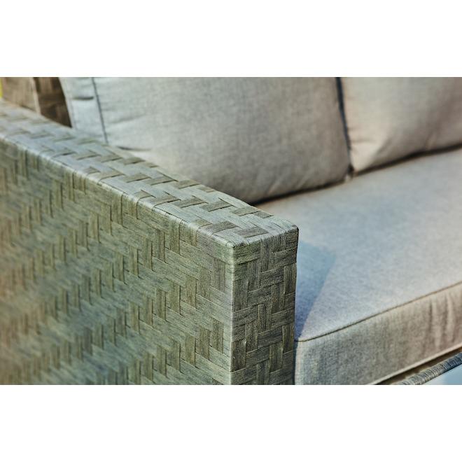 Ensemble sectionnel Allen + Roth Dartford 3 pièces, aluminium, gris