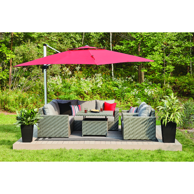 Allen + Roth Dartford Sectional Sofa Set -3-Piece - Aluminum - Grey