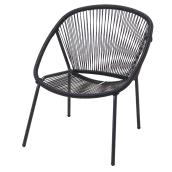 "Stacking Chair - Faux Wicker - 29.13"" x 27.95"" x 32.87"" - Black"