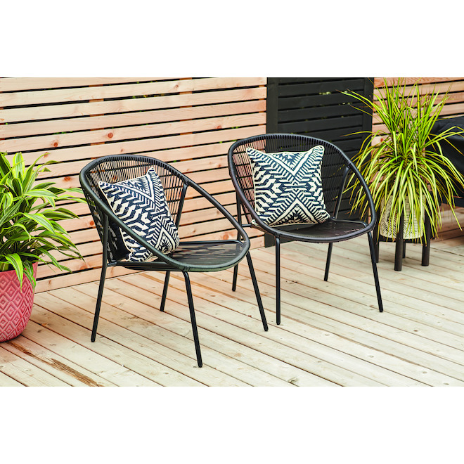 Style Selections Navia Stacking Chair - Resin - Black