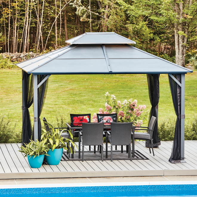 Allen + Roth Keating 7-Piece Outdoor Dining Set - Black