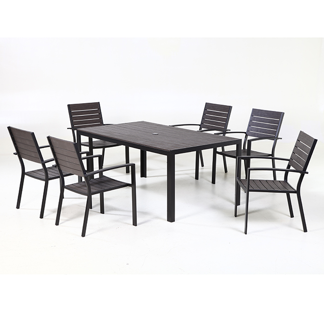 Allen + Roth Kirkwood Outdoor Dining Set - Seats 6 - Grey