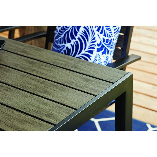 Allen + Roth Kirkwood Outdoor Dining Set - 6-Seat - Steel and Synthetic Wood - Grey