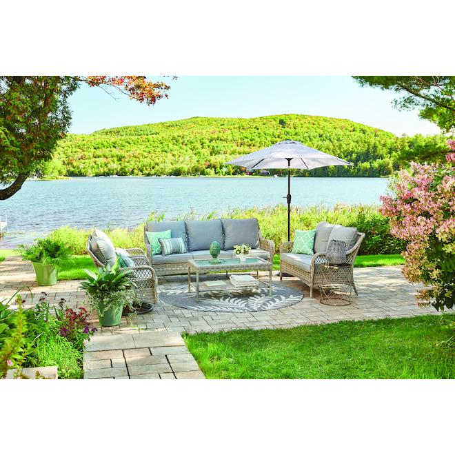 Allen + Roth Parkview Boston Swivel Patio Chair - Grey - Set of 2 - Steel, wicker, olefin