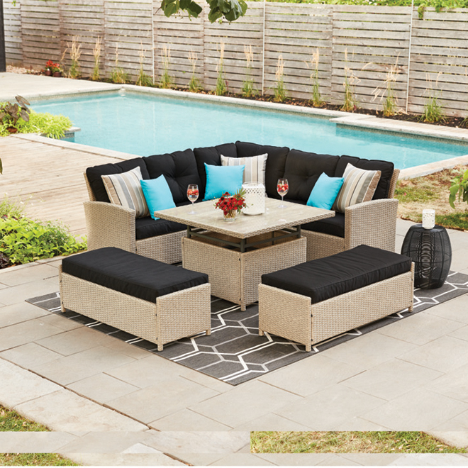Hampton 4-Piece Patio Dining Set - Sectional Sofa