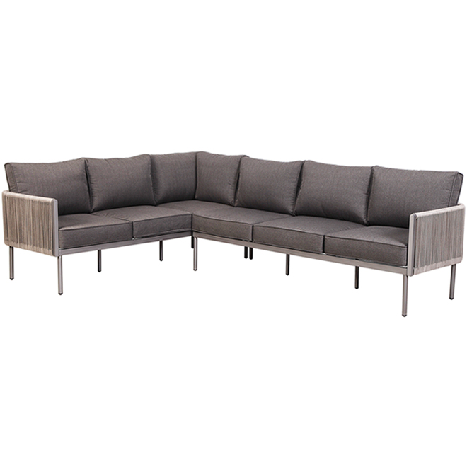 Allen + Roth Brokking Outdoor Sectional - Grey - Steel and Wicker - 6 Seats