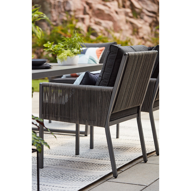 Allen + Roth Brokking Exterior Chairs - Steel and Wicker - Grey - 2-Pack