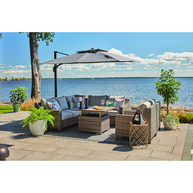 Allen + Roth Castlefield Outdoor Sectional - 5 Seats - Brown and Grey - Aluminum and Wicker