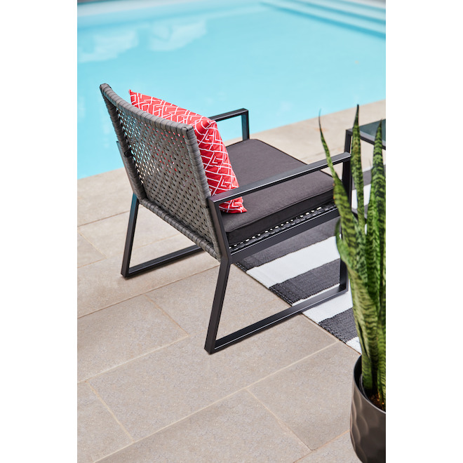 Ensemble de meubles d'extérieur Ainsley de Allen + Roth, acier, rouge et noir, 4 pièces