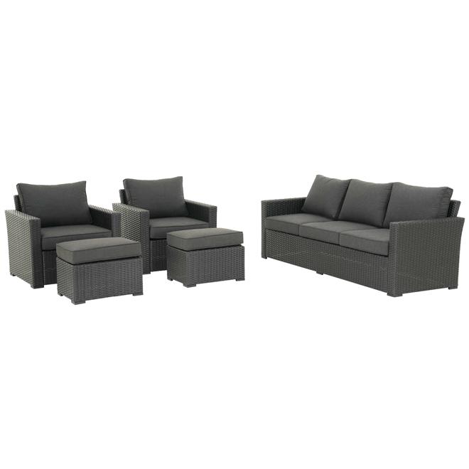 allen + roth Kelso Outdoor Furniture Set - 5 Pieces - Black