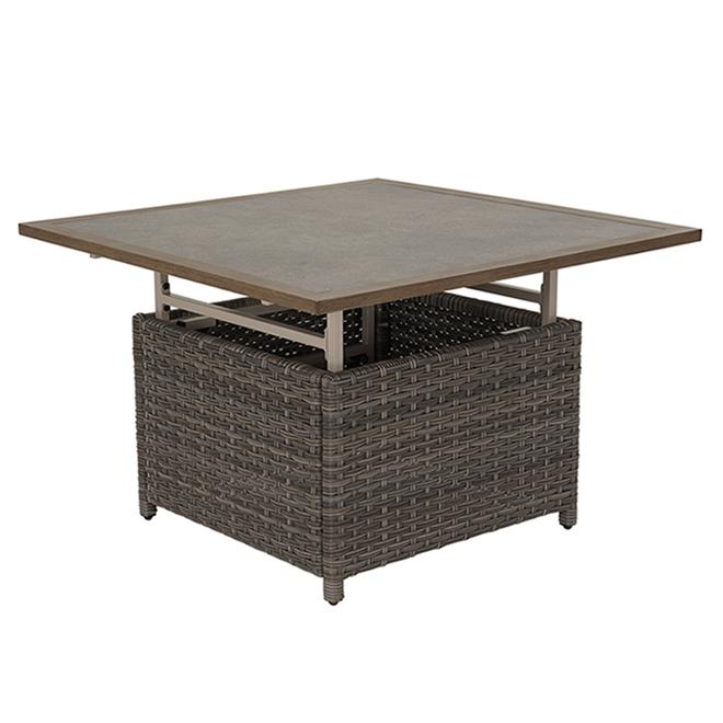 Table à dîner d'extérieur Castlefield, Allen + Roth, gris ciment, métal et aluminium
