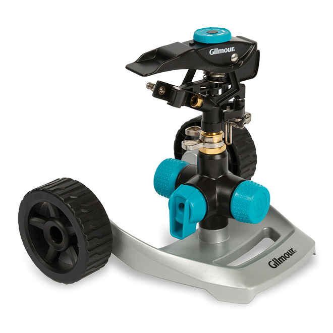 Circular-Pattern Sprinkler with Wheeled Base - Aqua/Grey