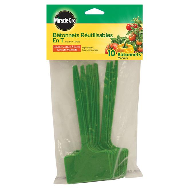 Bâtonnets marqueurs pour jardin Miracle-Gro, plastique, vert,  paquet de 10