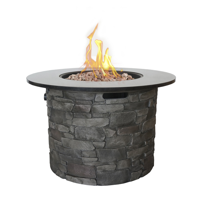 Canyon Ridge Outdoor Round Gas Fire Table - 50,000 BTU - Grey