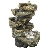 Style Selections Driftwood Lighted Fountain - 19.88-in - Resin - Indoor and Outdoor
