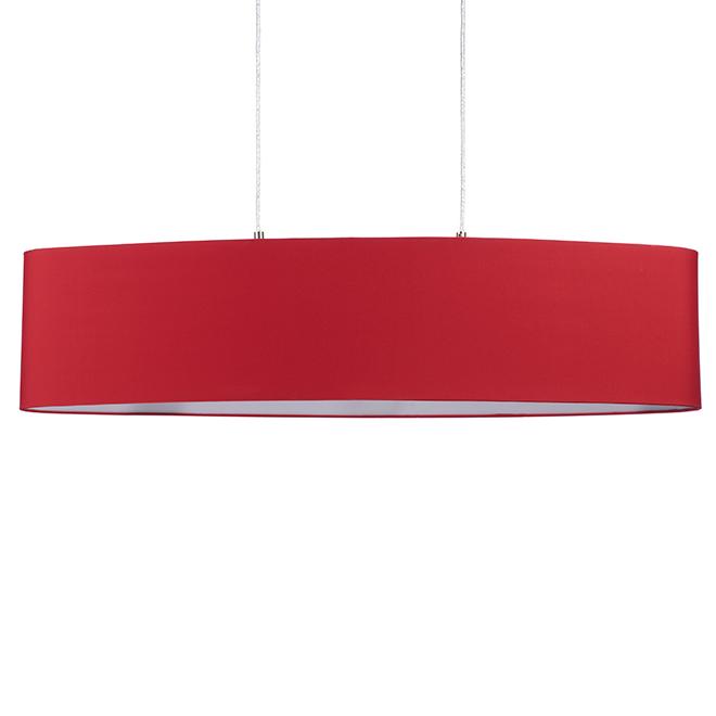 Luminaire suspendu avec abat-jour, 2 x 60 W, nickel et rouge