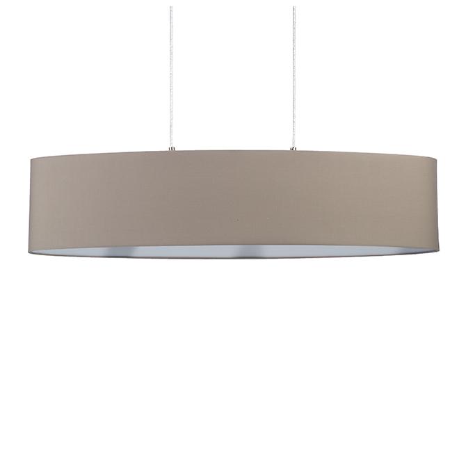 Luminaire suspendu avec abat-jour, 2 x 60 W, nickel et taupe