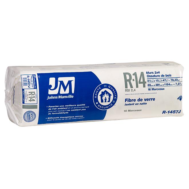 Isolant en fibre de verre par Johns Manville, jusqu'à 78,33  pi², R14, emballage de 16