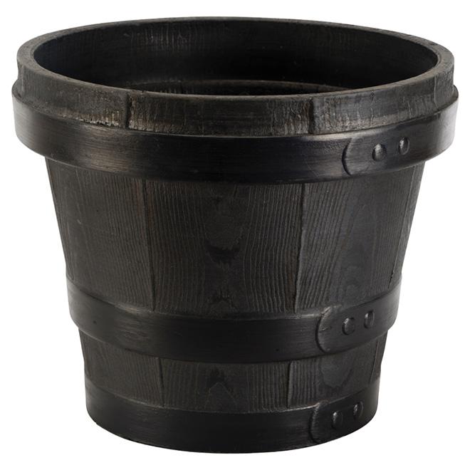 "Flower Pot - Barrel - 15 3/4"" x 11"" - Black"