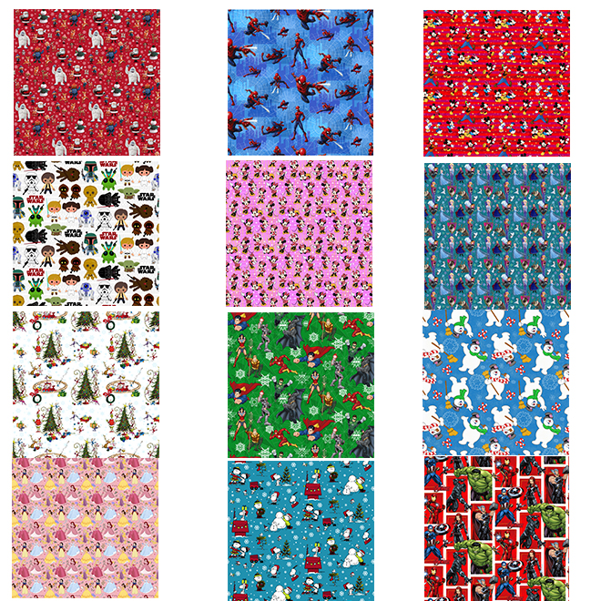 Gift Wrapping Papers - 3 Assorted Designs - 30 sq. ft.