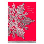 "Christmas Card - Embossed Snowflake - 6.85"" - Red - 16-Pack"