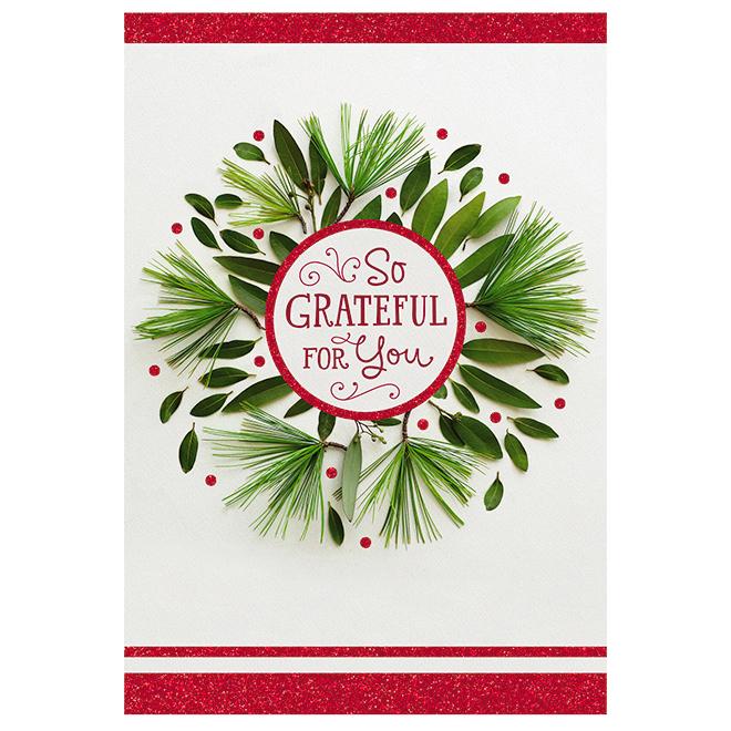 Hallmark Greeting Card - Gratitude - Red/Green - 16-Pack