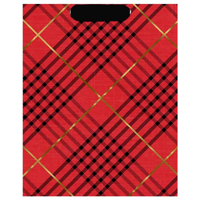 Hallmark Gift Bag - Plaid - Large - Red