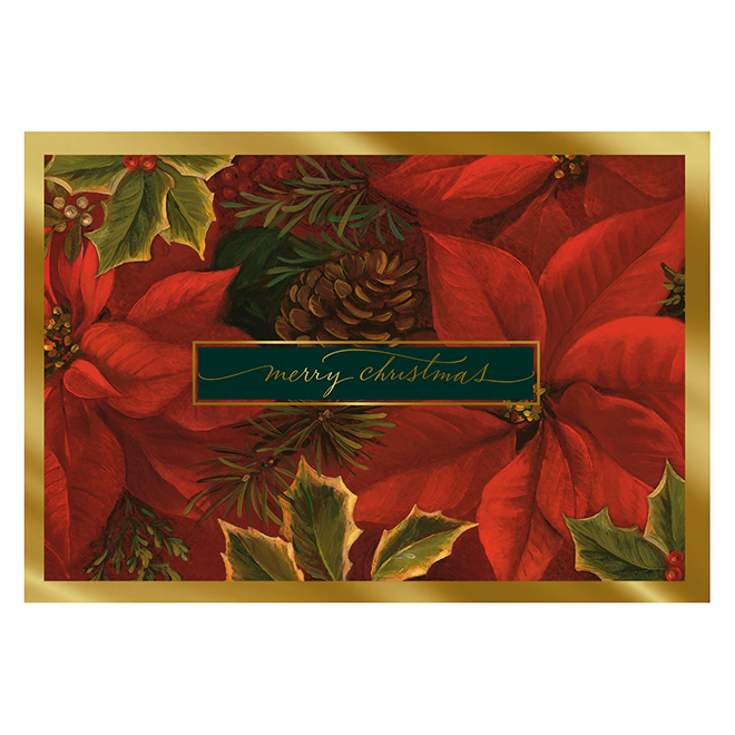 Hallmark Christmas Greeting Card - Poinsettias - 16-Pack