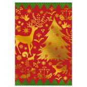 Christmas Greeting Card - Reindeer/Tree - Red/Gold - 16-Pack