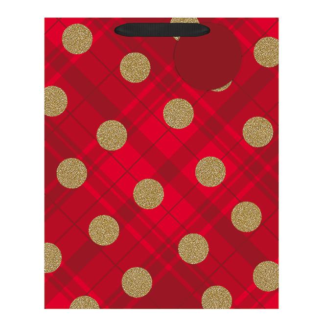 Hallmark Gift Bag - Large Size - Polka Dots - Red/Gold