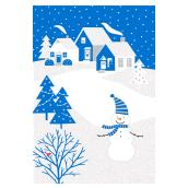 Hallmark Christmas Card - Snowman - Blue/White - 16-Pack