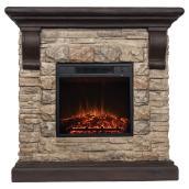 Rustic Electric Fireplace - 1500 W/2000W - Brown