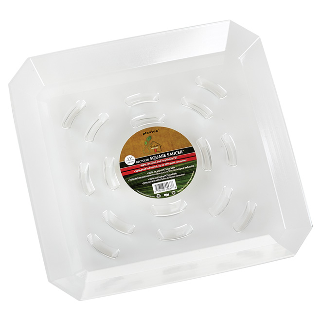 """Square Plastic Saucer - 11"""" - Clear"""